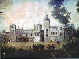 Royal Palace, Valencia - Anonymous author painting that shows what the Real Palace looked like, early 19th century.