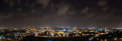 Panorama Jerusalem und Tempelberg bei Nacht