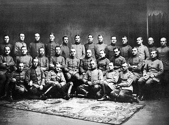 Ulrich von Coler - Officers of the Royal Prussian 27th Jäger Battalion in Liepāja, Autumn 1917. Captain Ulrich von Coler is in the middle row, the fourth man from the left.