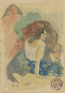 Monotipo de acuarela que muestra a dos mujeres, una de espaldas al espectador