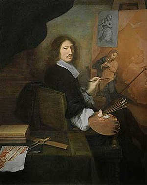 Paul Mignard - Portrait of Nicolas Mignard, painting an Annunciation
