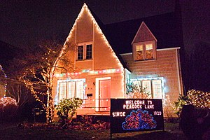 Peacock Lane - House on the street, decorated for the holiday season