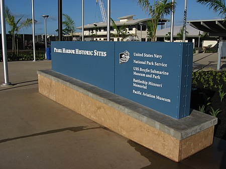 Blue plaque with the names of museums and memorials at the Pearl Harbor historic sites