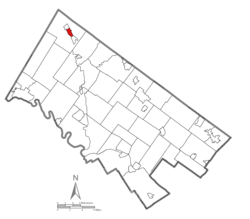 Location of Pennsburg in Montgomery County, Pennsylvania.