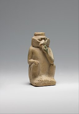 Ancient Egyptian perfume vessel in shape of a monkey; 1550-1295 BC; faience; height: 6.5 cm, width: 3.3 cm, depth: 3.8 cm; Metropolitan Museum of Art (New York City) Perfume vessel in shape of a monkey MET DP228710.jpg