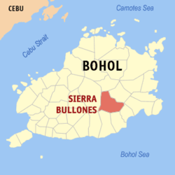Map of Bohol with Sierra Bullones highlighted