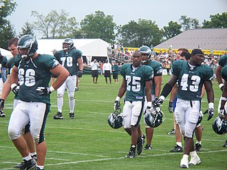 2009 Philadelphia Eagles season - Eagles offensive linemen at training camp, August 2009
