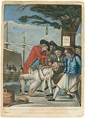 Im Vordergrund halten fünf grinsende Männer der Sons of Liberty einen loyalistischen Zollkommissar nieder, einer mit einer Keule.  Der Agent ist geteert und gefiedert, und sie gießen ihm kochend heißen Tee in die Kehle.  In der Mitte befindet sich der Boston Liberty Tree mit einer daran hängenden Schlinge.  Im Hintergrund ist ein Handelsschiff mit Demonstranten, die Tee über Bord in den Hafen werfen.