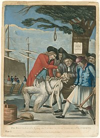 In the foreground, five leering men of the Sons of Liberty are holding down a Loyalist Commissioner of Customs agent, one holding a club. The agent is tarred and feathered, and they are pouring scalding hot tea down his throat. In the middle ground is the Boston Liberty Tree with a noose hanging from it. In the background, is a merchant ship with protestors throwing tea overboard into the habor.