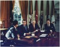 Photograph of President Richard M. Nixon Meeting in the Oval Office with Vice President Gerald R. Ford, Secretary of... - NARA - 186967.tif