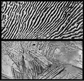 Photomicrograph of annealed and quenched steel, from 1911 Britannica plates 11 and 14