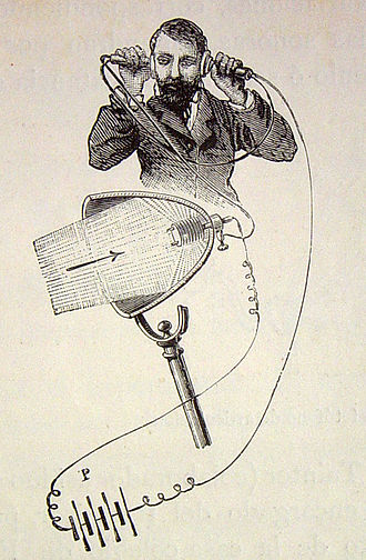 Photophone - Illustration of a photophone receiver, depicting the conversion of modulated light to sound, as well as its electrical power source (P)