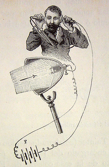 Illustration of a photophone receiver, depicting the conversion of modulated light to sound, as well as its electrical power source (P) Photophone receiver 4074172975 288f2808f0 o.jpg