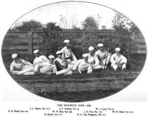Princeton Tigers - Princeton's Pickwick Nine in 1866, William Buck, team captain in 1870, is on far right.