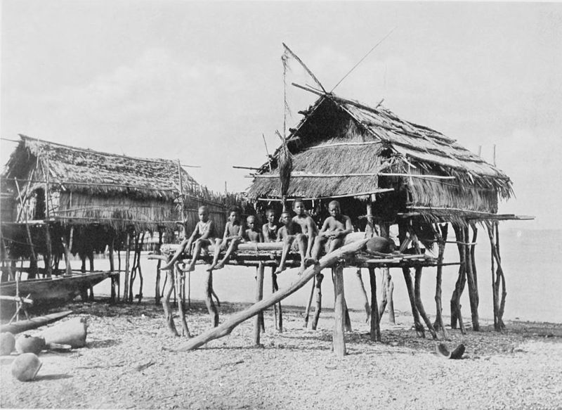 Black and white photograph of 2 native houses raised on stilts, over a beach at low tide. A group of native children are sitting on the verandah.