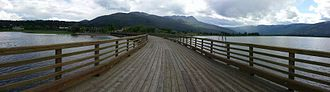 Salmon Arm - The wooden wharf in Salmon Arm, British Columbia, facing south (May 2013).