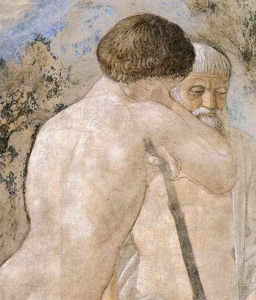 Piero della Francesca, Le Storie della Vera Croce, Morte di Adamo (particolare Adamo)