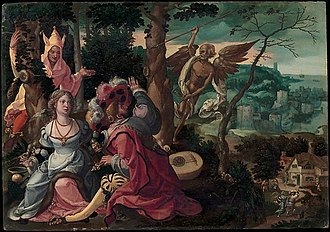 Pieter Coecke van Aelst - Lovers Surprised by a Fool and Death