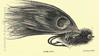 Artificial fly - Illustration of a large Pike fly (1865)