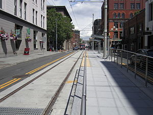 First Hill Streetcar - The southern terminus, on South Jackson Street at Occidental Avenue in Pioneer Square