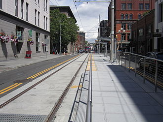 First Hill Streetcar - The streetcar's current southern terminus, on South Jackson Street at Occidental Avenue in Pioneer Square