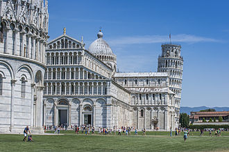 Leaning Tower of Pisa - The Pisa Baptistery (in the foreground), the Pisa Cathedral (in the middleground), and the Leaning Tower of Pisa (in the background)
