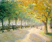 Hyde Park by Camille Pissarro, 1890, showing the footpath along the southern bank of the Serpentine