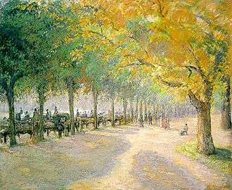 Hyde Park, London - Hyde Park, 1890, by Camille Pissarro,  showing the footpath along the southern bank of the Serpentine