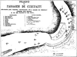 Passage of Humaitá - The dash past the fortress of Curupayty.  On the right, the ironclads are risking the channel nearer to the guns – rightly, as it turned out – while the wooden vessels (on left) are providing covering fire.