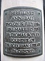 Plaque on Ann Ball's house - geograph.org.uk - 450669.jpg