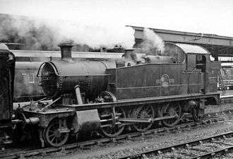 Plymouth railway station - A GWR 'Small Prairie' 2-6-2T at Plymouth in 1958