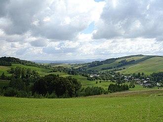 Pogórze Bukowskie - A view from Bukowica Peak in western Nowotaniec.