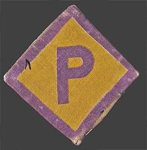 "Poles in Germany - ""P"" badge introduced by Nazi Germany for Polish-forced-workers"