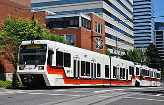 MAX Light Rail - A MAX train composed of one low-floor car and one high-floor car on the Portland Transit Mall in 2015