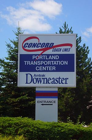 Portland Transportation Center - Sign at the entrance to the Portland Transportation Center