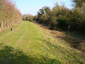 Portsmouth and Arundel Canal - Towing path and canal bed of the Portsmouth and Arundel Canal near Woodgate, Sussex