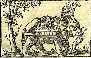 Porus - Porus's elephant cavalry as depicted in the 16th century German work, Cosmographia