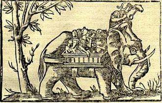 Porus - Image: Porus's elephant cavalry, Cosmographia (1544)
