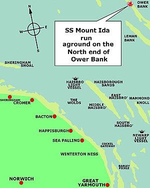 SS Mount Ida - Image: Position of SS Mount Ida