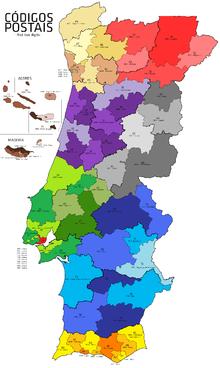 mapa de codigos postais portugal Postal codes in Portugal   Wikipedia mapa de codigos postais portugal