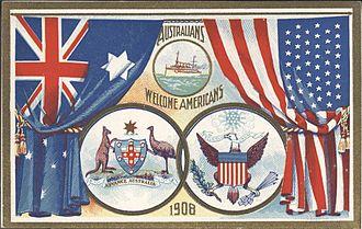 "Australia–United States relations - ""Australians welcome Americans"", postcard 1908"
