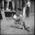 Poston, Arizona. A small evacuee of Japanese ancestry amuses himself while his parents are entertai . . . - NARA - 538556.tif