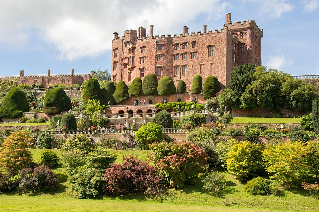 The exterior of Powis Castle in Wales on a sunny day