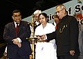 Pranab Mukherjee lighting the lamp at the Valedictory Function of the Sesquicentennial Celebrations of Calcutta High Court, at Kolkata. The Chief Justice of India, Shri Justice Altamas Kabir.jpg