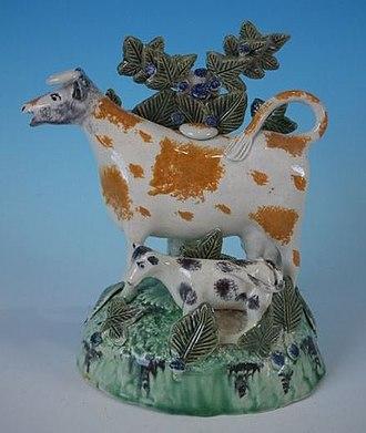 Staffordshire figures - Image: Prattware cow calf bocage figure circa 1800