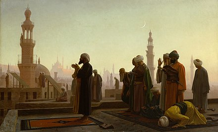 Prayer in Cairo, painting by Jean-Léon Gérôme, 1865. Prayer in Cairo 1865.jpg