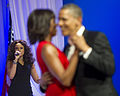 President Barack H. Obama, right, and first lady Michelle dance their first dance during a performance by Jennifer Hudson, left, at the Commander in Chief's Ball at the Washington Convention Center 130121-A-TT930-092.jpg