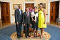 President Barack Obama and First Lady Michelle Obama Greet, His Excellency Hery Rajaonarimampianina, President of the Republic of Madagascar, and Mrs. Voahanagy Rajaonarimampianina.jpg