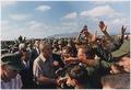 President Lyndon B. Johnson in Vietnam, Handshakes in a crowd of troops - NARA - 192517.tif