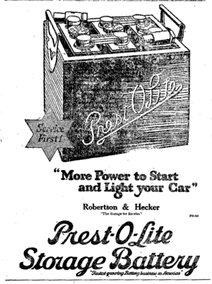 Prestolite Electric - 1921 Presto Lite car battery ad from Canada.